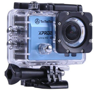 Caméra XPRO2 Bleue TecTecTec Low cost ou pas cher avec accessoires dans son caisson étanche 30 mètres