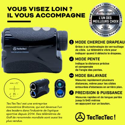 TecTecTec mode capteur cherche drapeau mode scan mode pente télémètre laser de golf précision VPRO500S