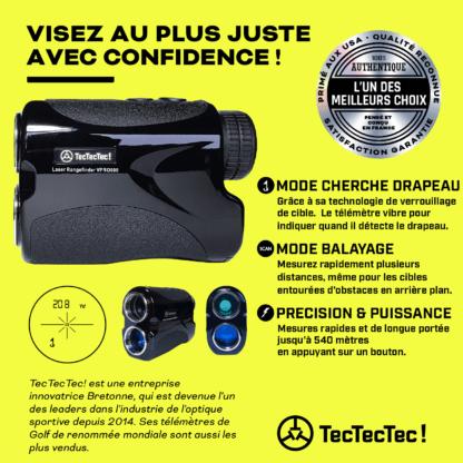 TecTecTec mode capteur cherche drapeau avec vibration mode scan télémètre laser de golf précision VPRO500
