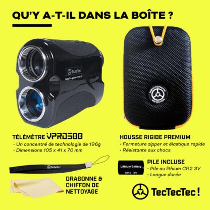 TecTecTec contenu de la boîte télémètre laser de golf précision VPRO500