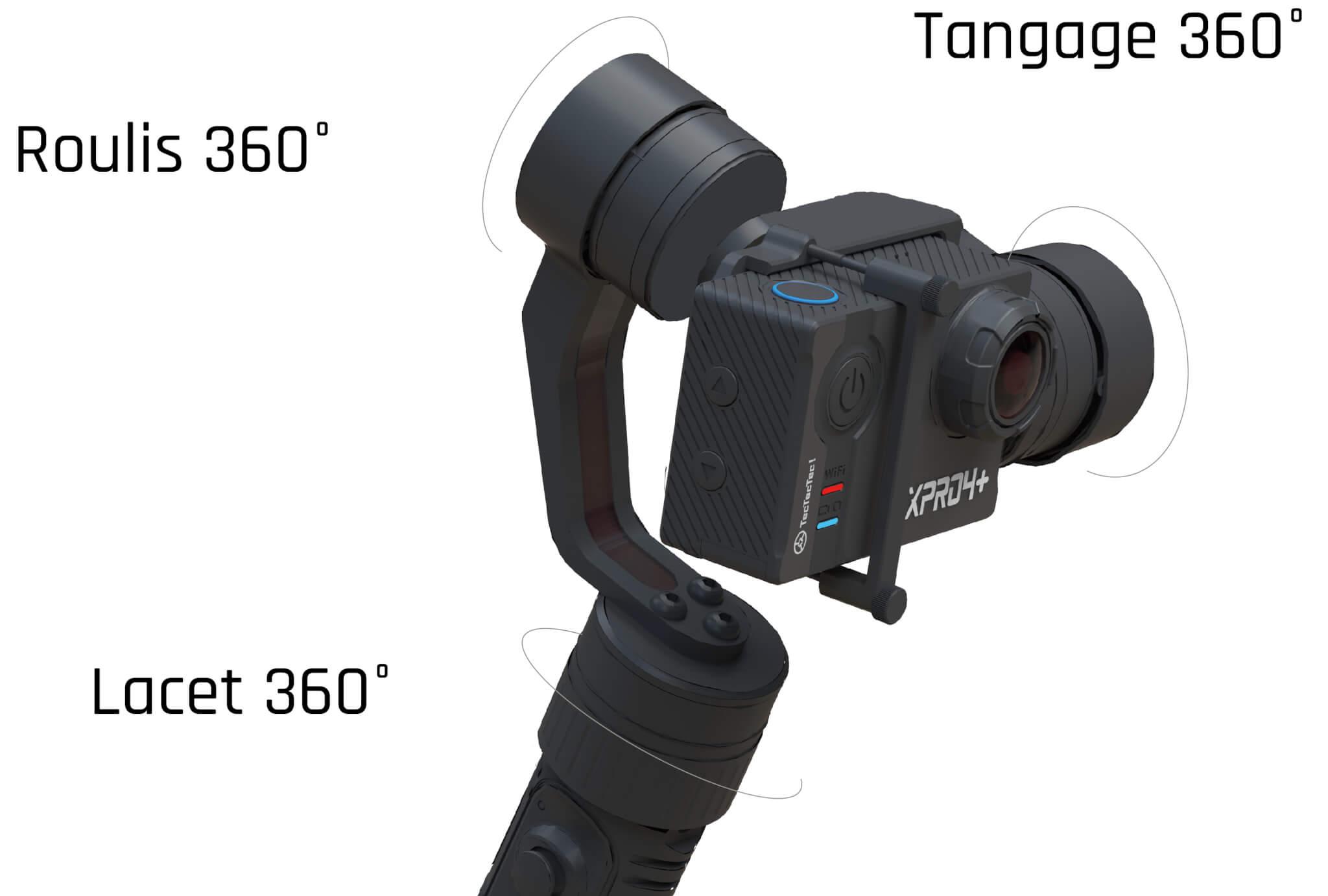 Stabilisateur TecTecTec STPRO1 modes panoramique et suivi et verrouillage