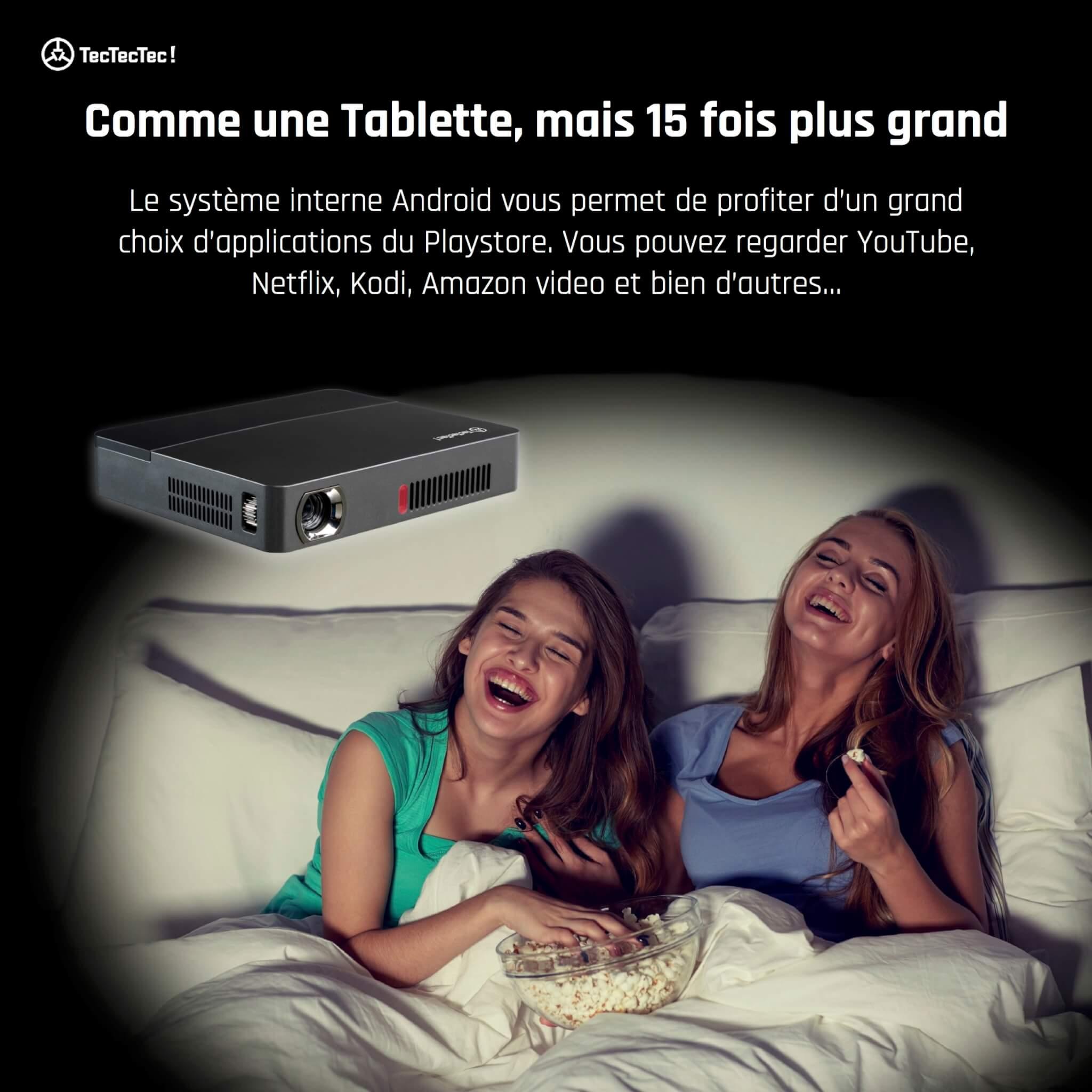 VPRO2 TecTecTec LED DLP Keystone 50°et définition supérieure à 1080p Soirée cinéma entre filles dans leur lit