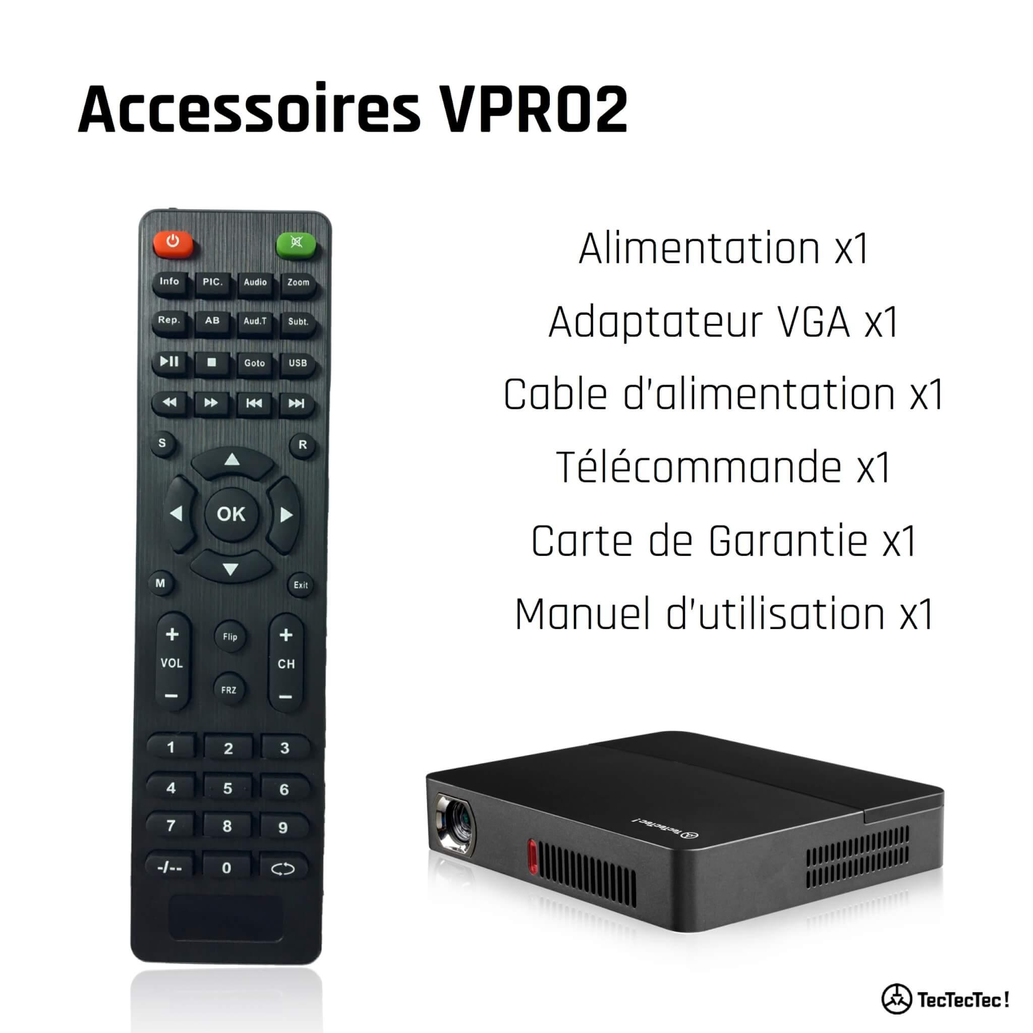 VPRO2 TecTecTec LED DLP Keystone 50°et définition supérieure à 1080p Accessoires
