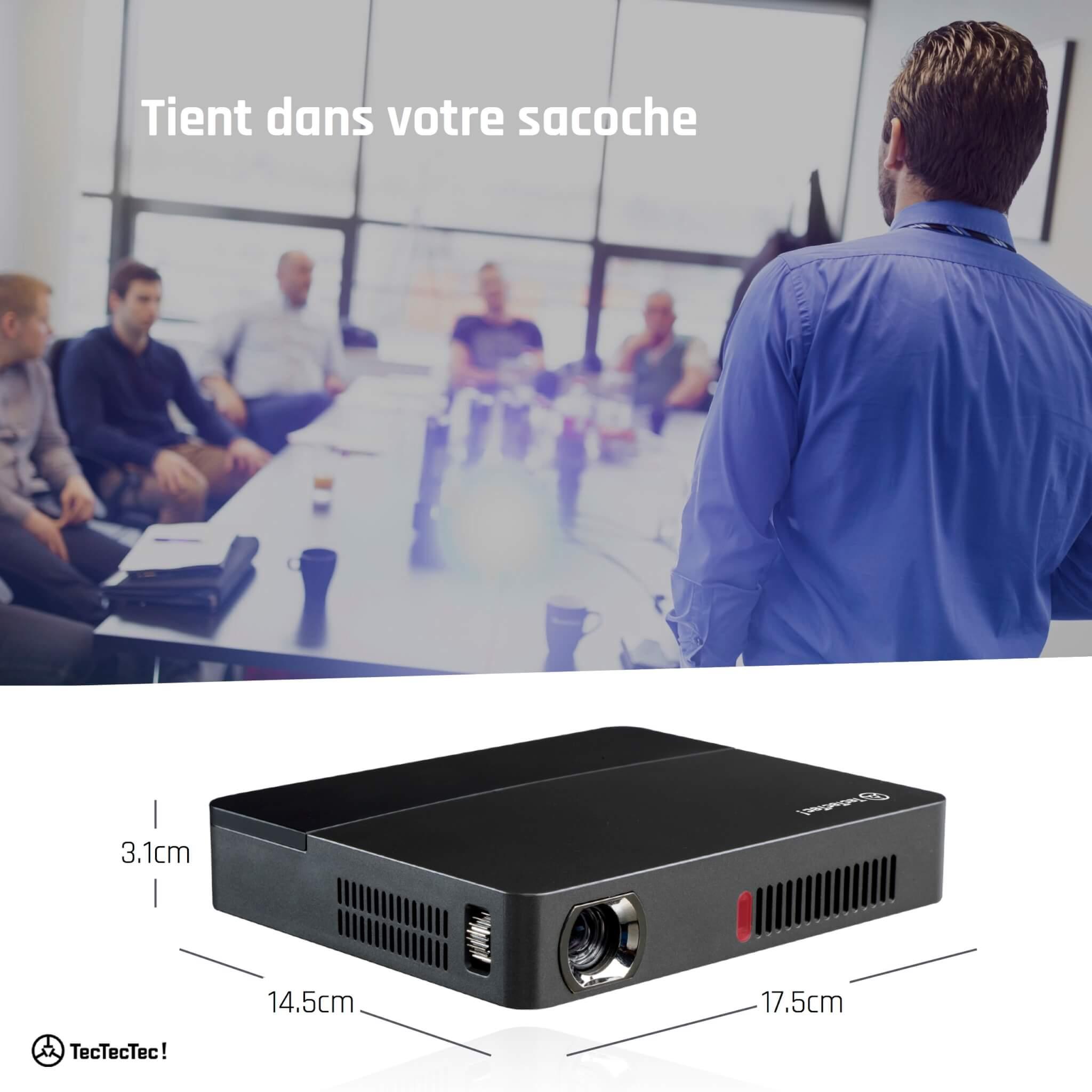 VPRO2 TecTecTec LED DLP Keystone 50°et définition supérieure à 1080p Dimensions