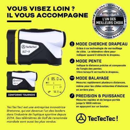 TecTecTec mode capteur cherche drapeau mode scan mode pente télémètre laser de golf précision ULT-X 1000 mètres