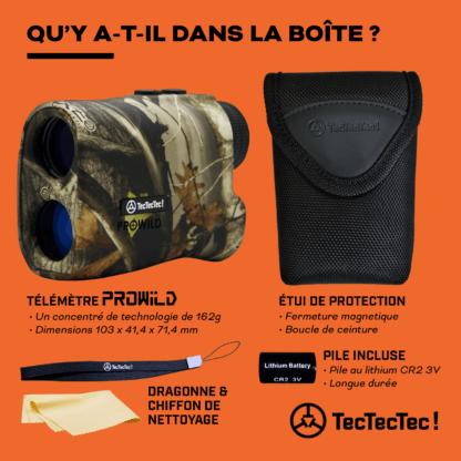 Télémètre laser de chasse PROWILD TecTecTec Qu'y-a-t'il dans la boîte