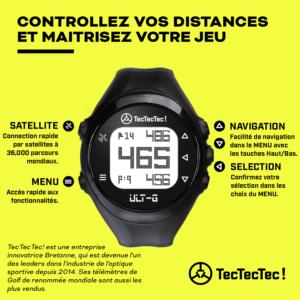 TecTecTec ULT-G Montre de Golf de précision Satellite GPS avec 38000 parcours mondiaux préchargés