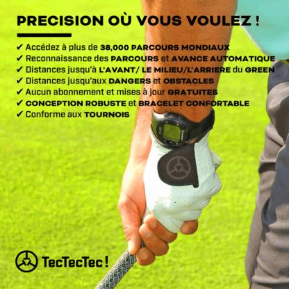TecTecTec ULT-G Montre de précision GPS conforme aux tournois USGA